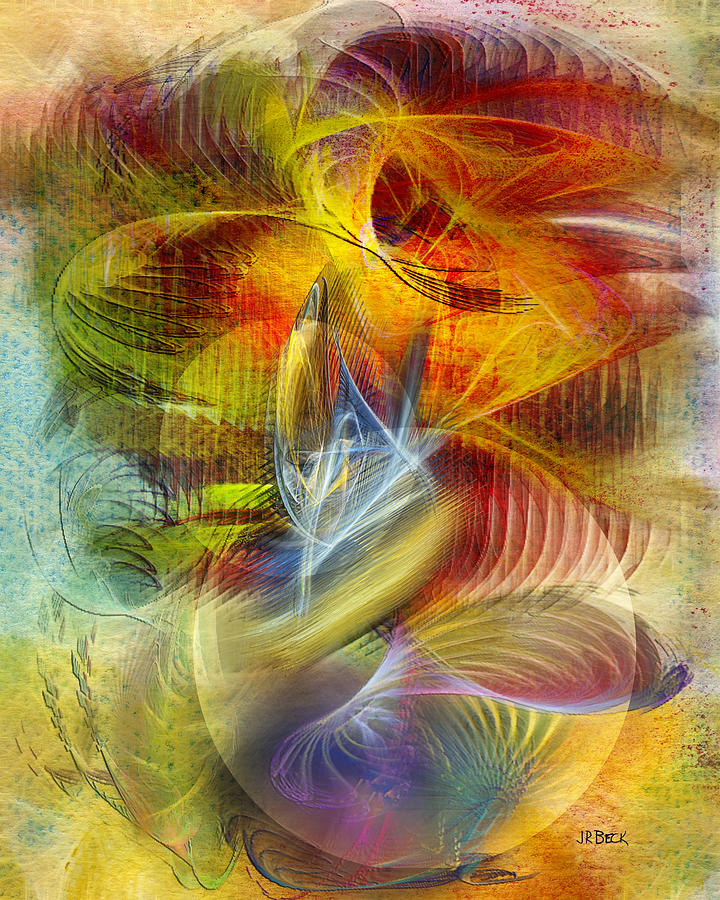 Abstract Digital Art - Lady And Her Shells by John Robert Beck