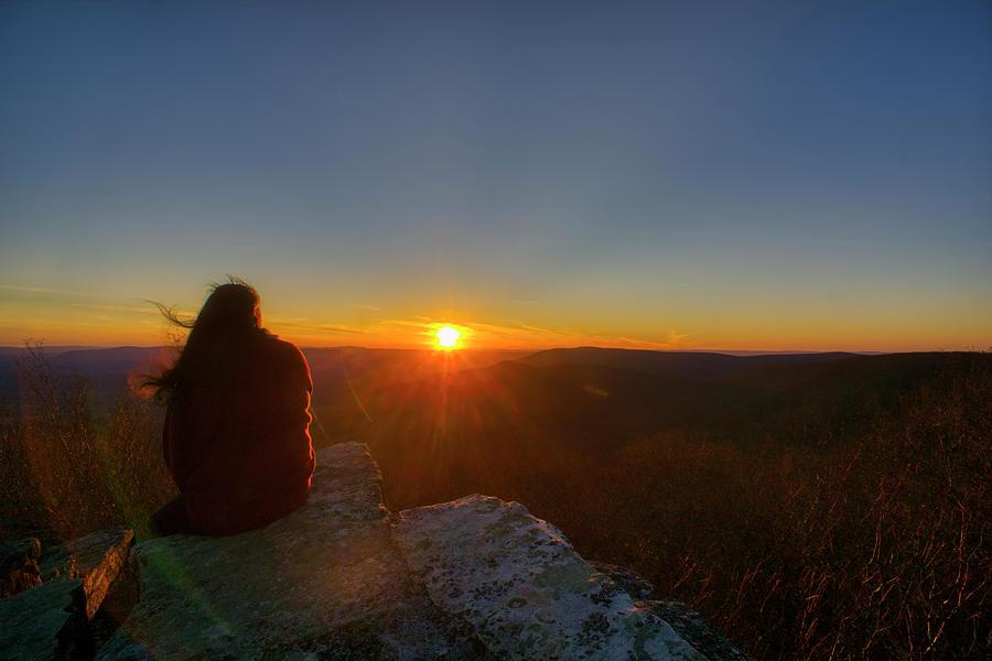 Lady faces a warm sunset at Bald Knob by Daniel Brinneman