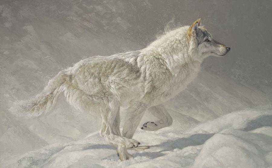 Wolf Painting - Lady in Grey by Greg Beecham