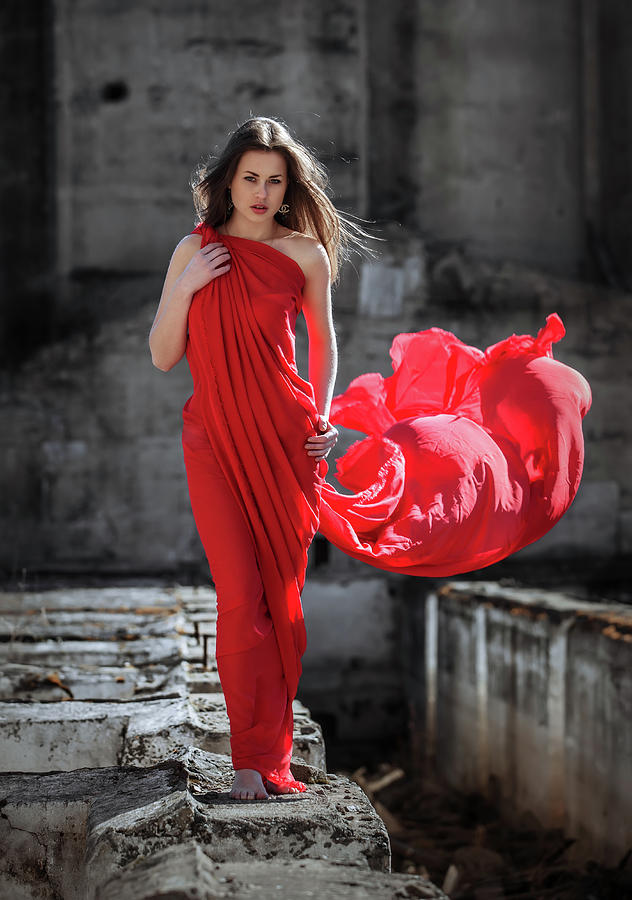 Lady in Red in Desolate Place 2 by Vitaly Vachrushev