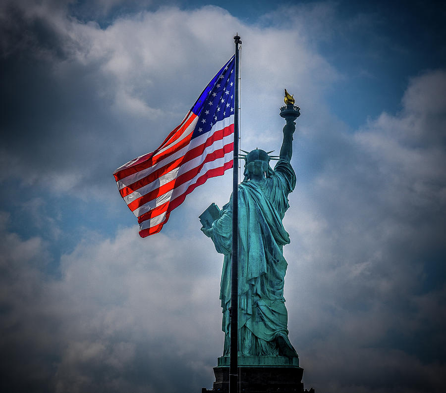American Flag Photograph - Lady Liberty the Patriot by Jason Brooks