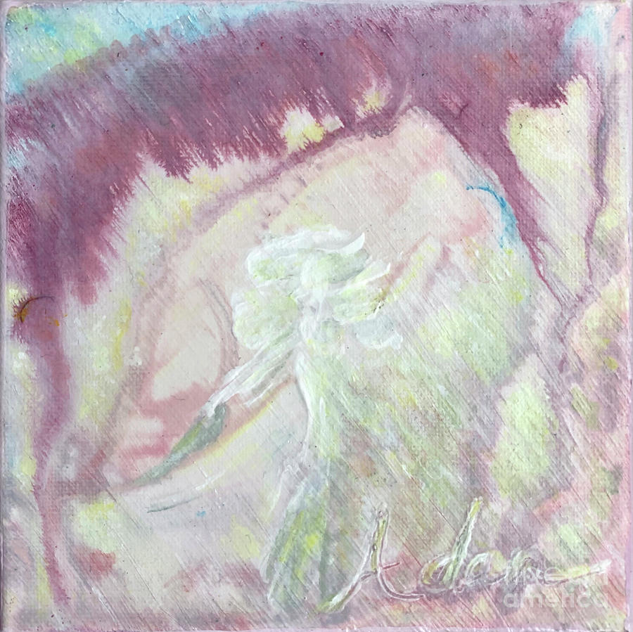 Lady Of The Garden 6x6 Acrylic Watercolor #3 Painting
