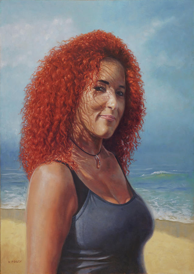Lady with curly red hair in beach setting by Martin Davey