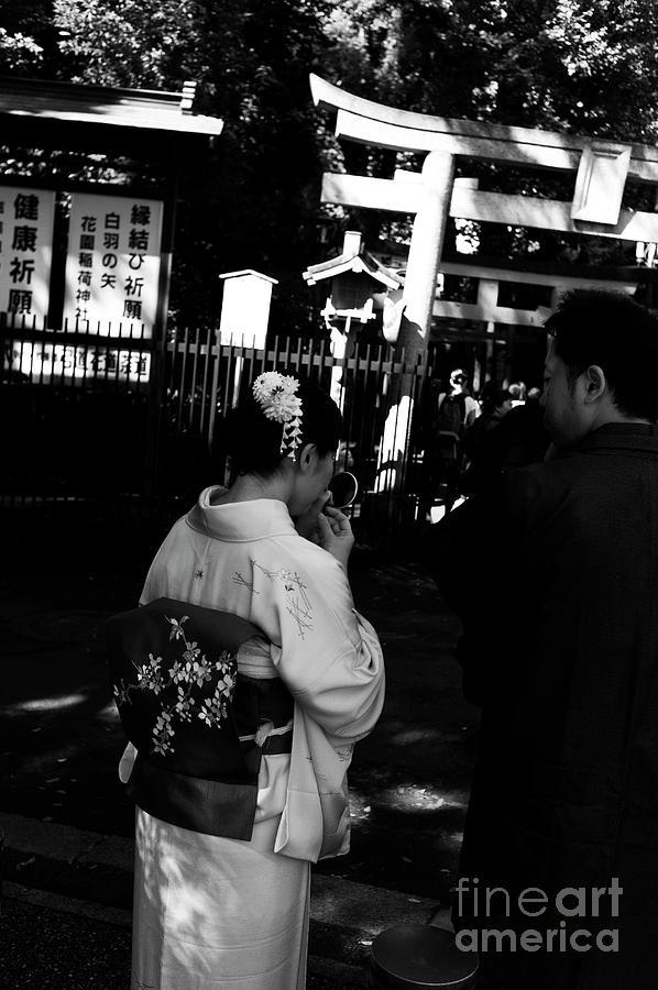 Lady With Kimono And Mirror Photograph