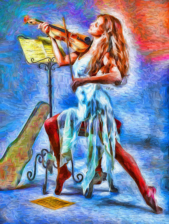 Lady With Violin 3 Painting