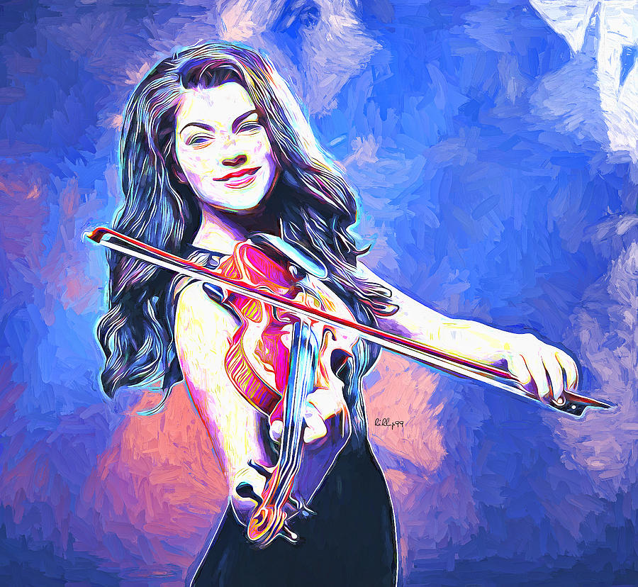 Lady With Violin 4 Painting