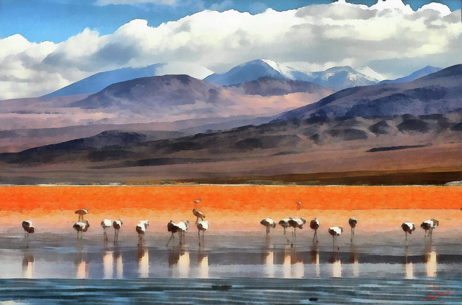 Red Lagoon Painting - Laguna Colorada 1 by George Rossidis