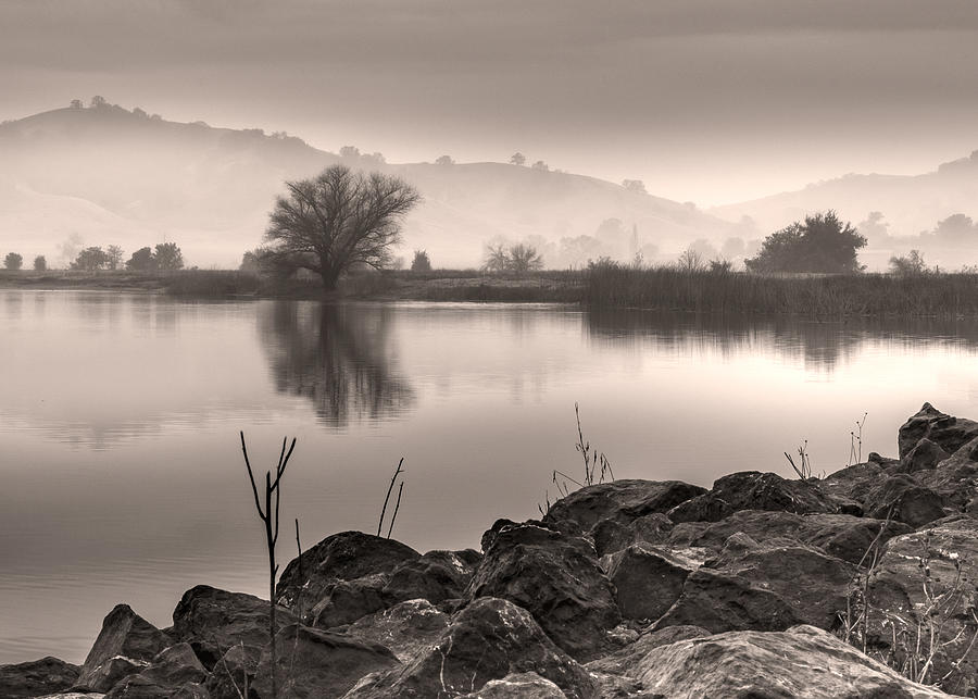 Lake and rolling hills in the fog by Alessandra RC