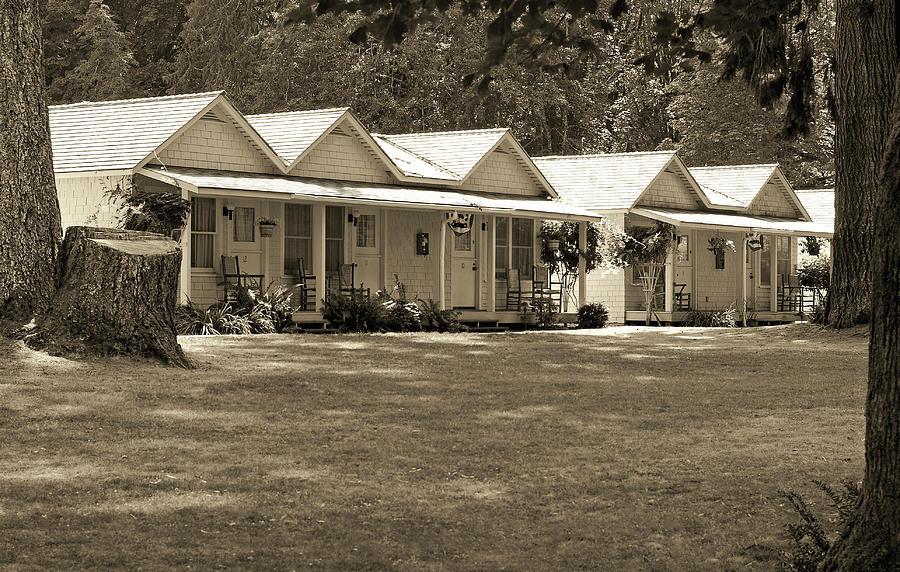 Lake Crescent Cottages Sepia Photograph