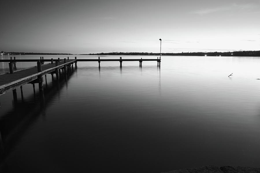Lake Fishing Pier Monochrome 012120 by Rospotte Photography