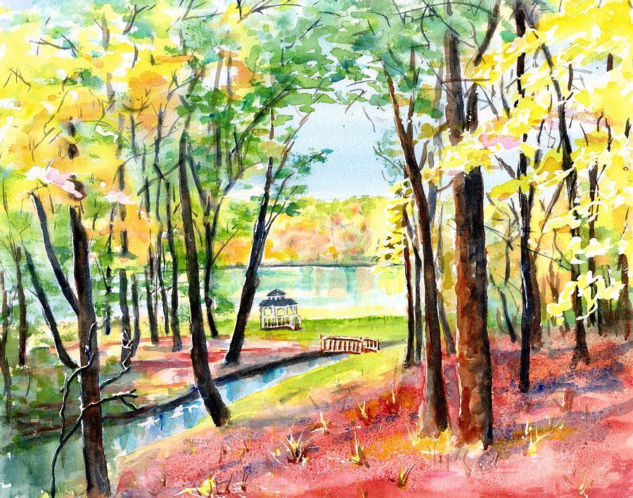 Gazebo Painting - Lake Gazebo by Carlin Blahnik CarlinArtWatercolor
