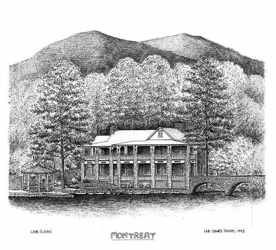 Black Mountain Drawing - Lake Susan in Montreat by Lee Pantas