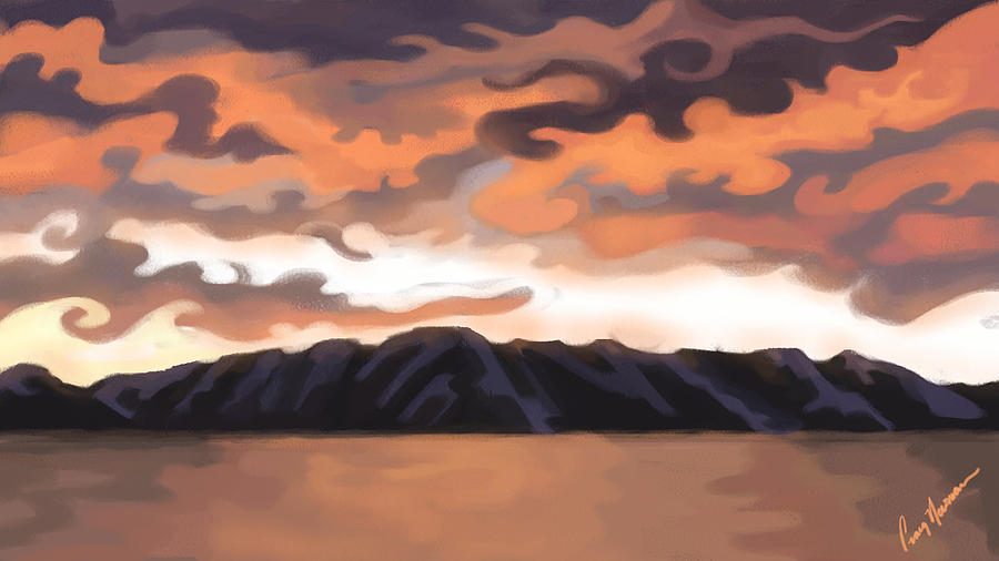Sunset Painting - Lake Tahoe Sunset by Craig Newman