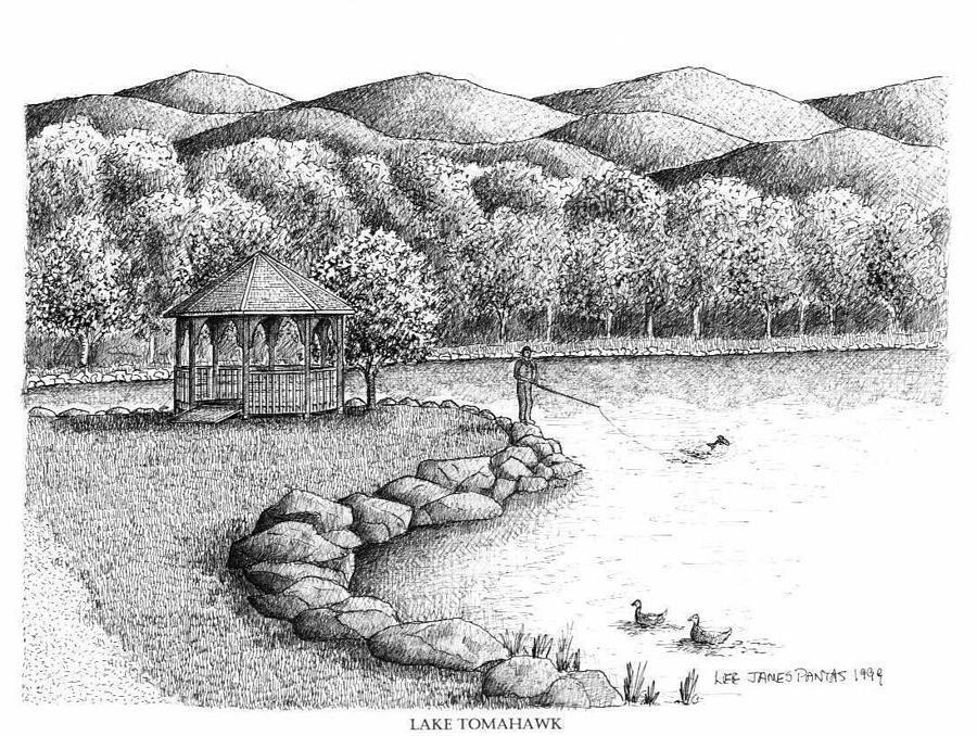 Lake Tomahawk Drawing - Lake Tomahawk in Black Mountain by Lee Pantas