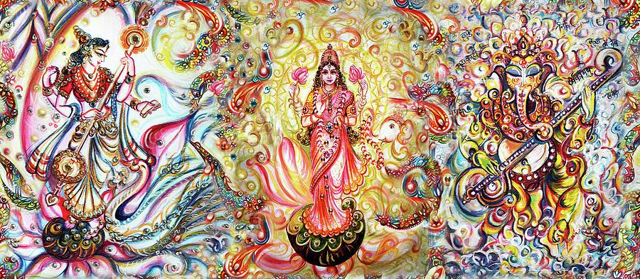 Lakshmi Painting - Lakshmi - Ganesha - Saraswati  by Harsh Malik