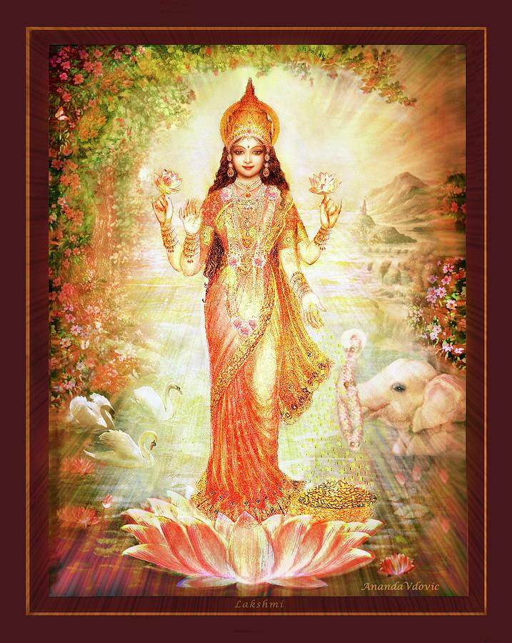 Goddess Mixed Media - Lakshmi Goddess of Fortune by Ananda Vdovic