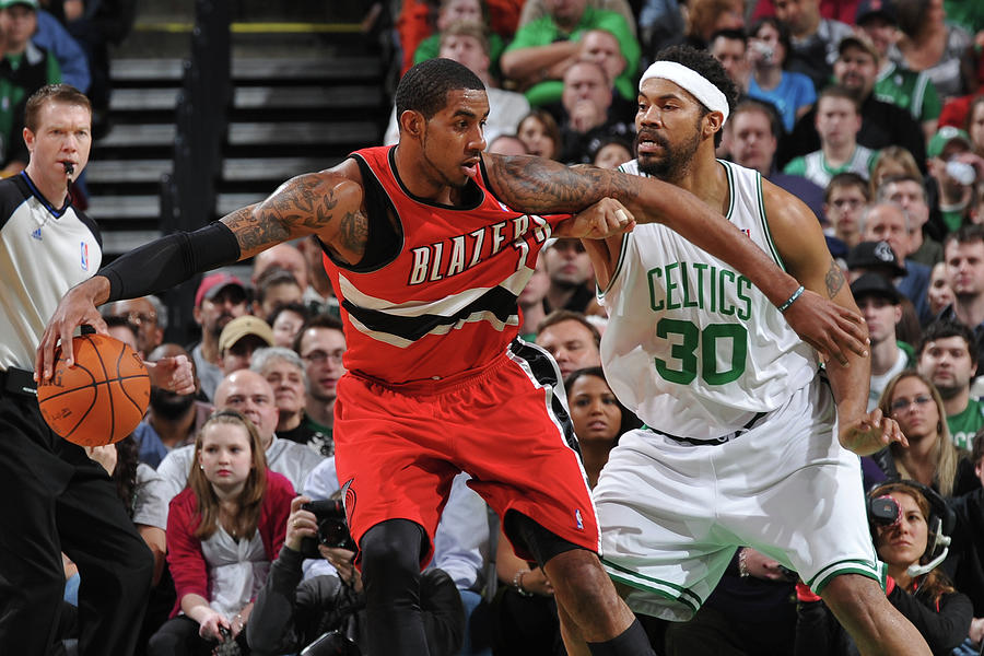 Lamarcus Aldridge and Rasheed Wallace Photograph by Brian Babineau
