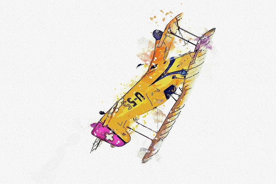 Lamb Cj- U-ncl War Planes In Watercolor Ca By Ahmet Asar Painting