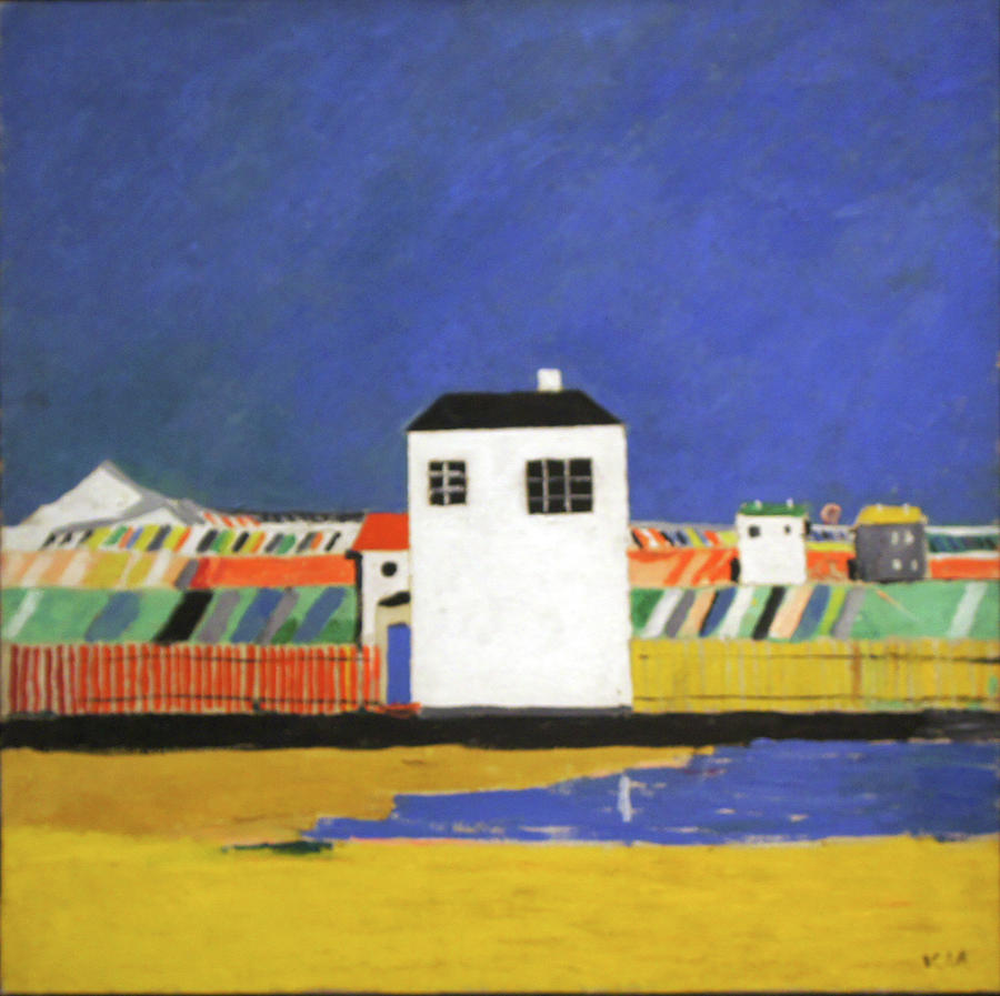 Kazimir Malevich Painting - Landscape with a White House by Kazimir Malevich