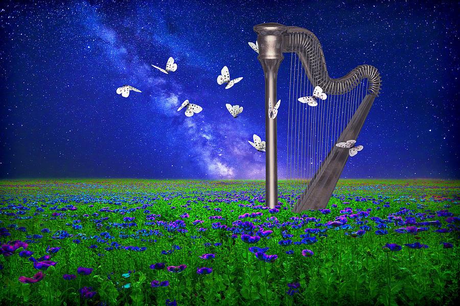 Landscape With Harp And Butterflies Digital Art