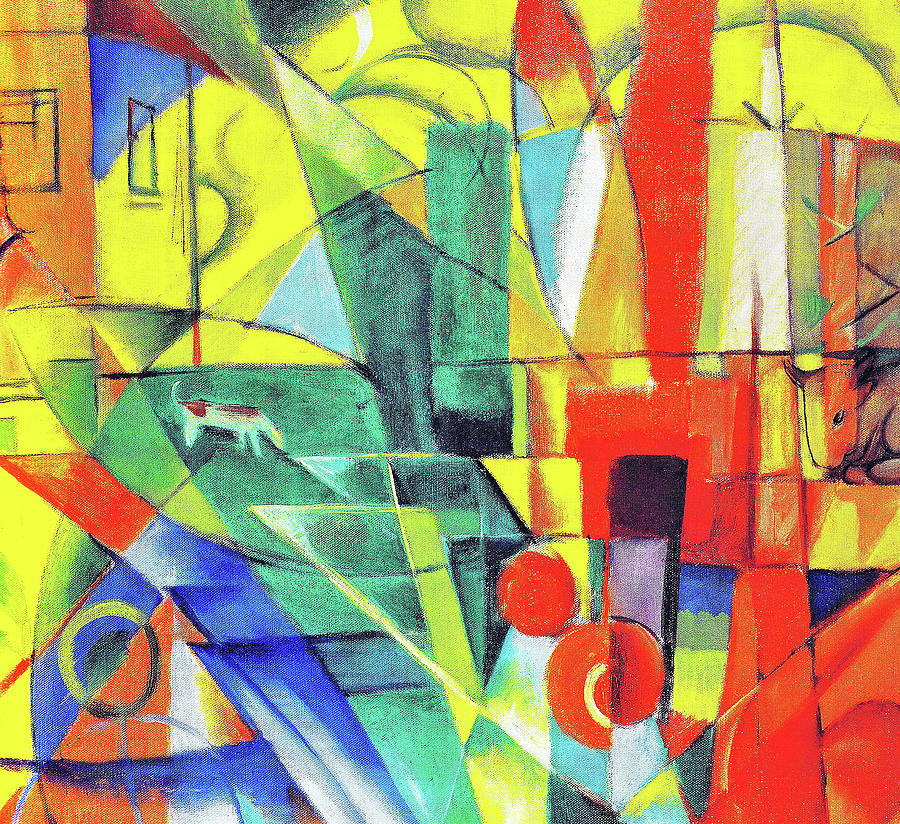 Franz Marc Painting - Landscape With House, Dog And Cattle - Digital Remastered Edition by Franz Marc