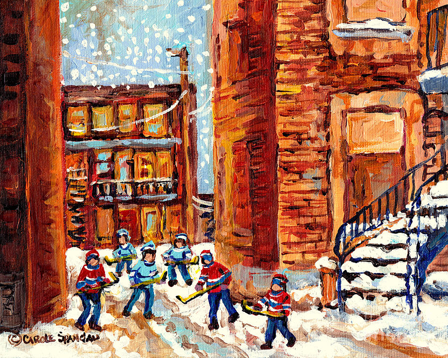 LANEWAY STREET HOCKEY GAME KIDS WINTER FUN SNOW FALLING MONTREAL ART SCENE C SPANDAU CANADIAN ARTIST by CAROLE SPANDAU