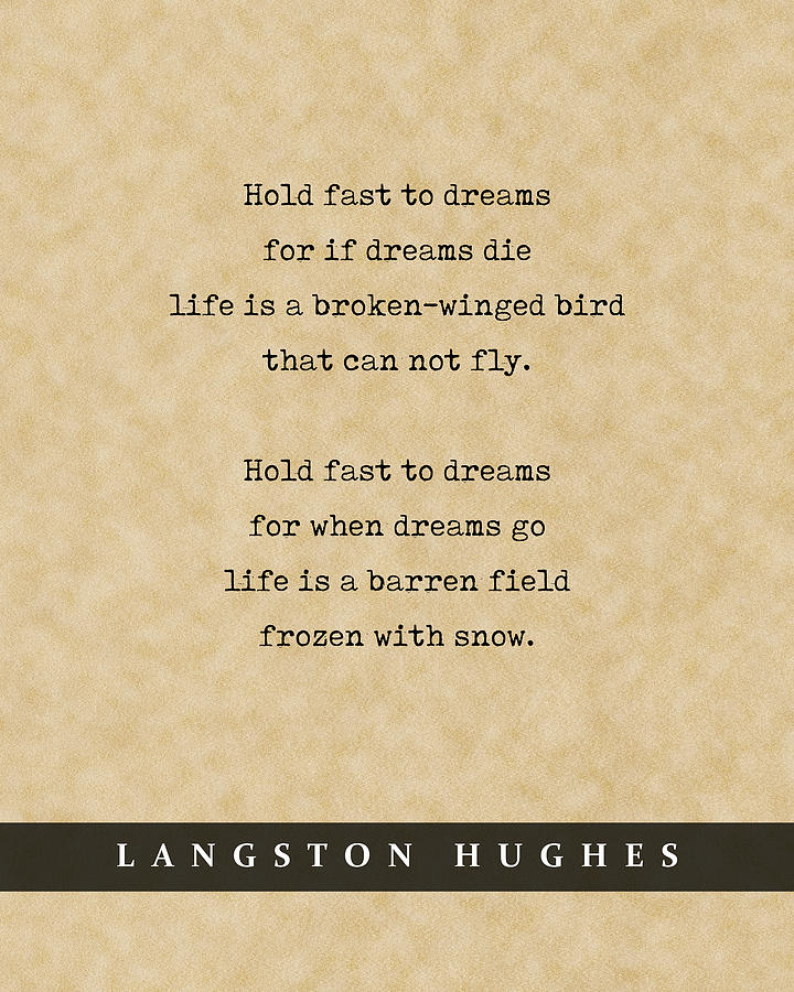 Langston Hughes, Dreams - Quote Print - Literary Poster 01 Mixed Media