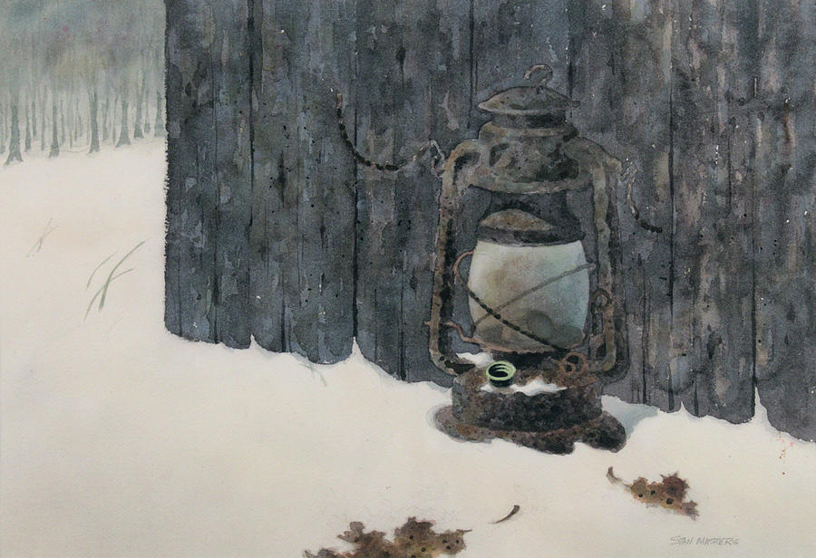 Lantern in the Snow Painting by Stan Masters