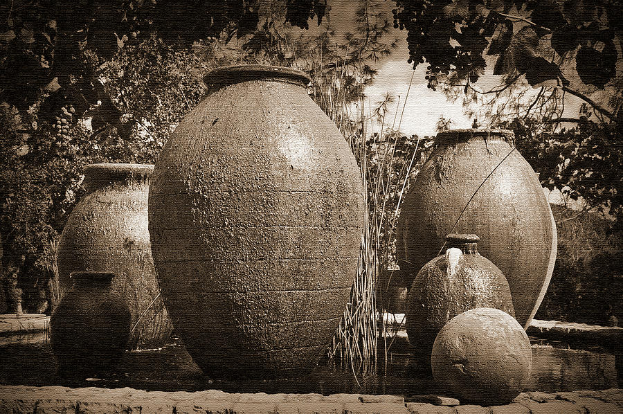 Winery Digital Art - Large Urns by Kirt Tisdale