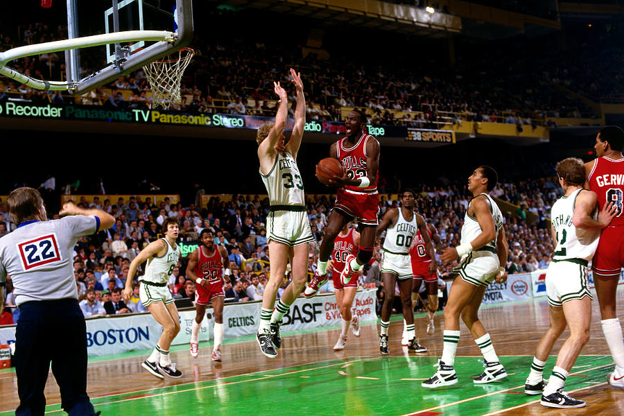 Larry Bird and Michael Jordan Photograph by Dick Raphael