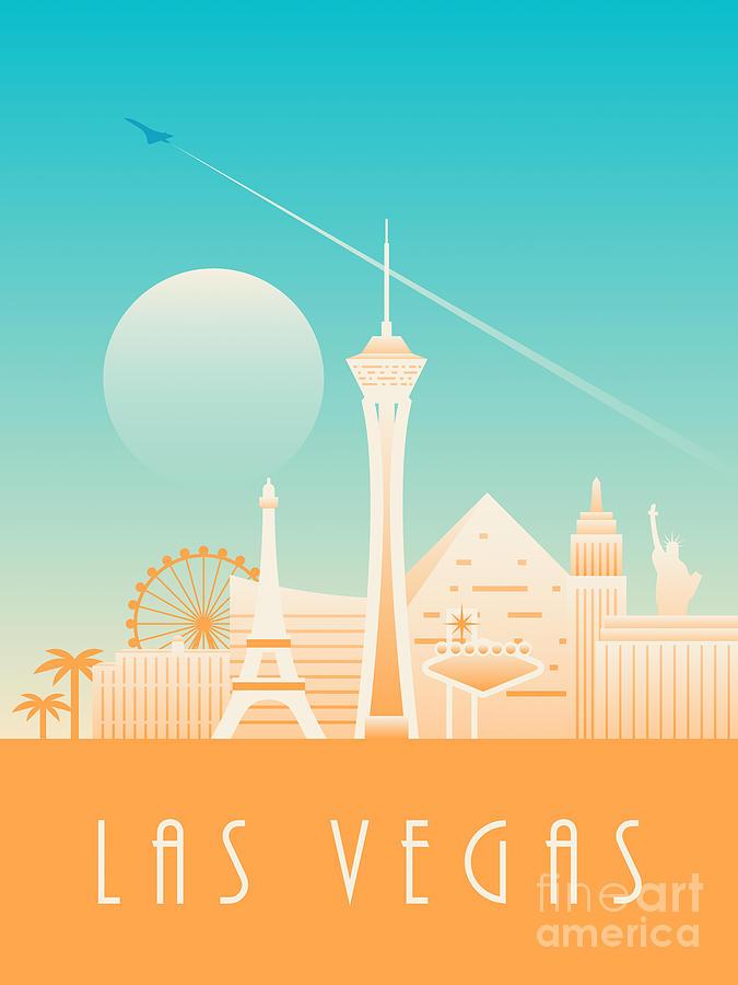 Las Vegas Photograph - Las Vegas City Skyline Retro Art Deco - Day by Organic Synthesis