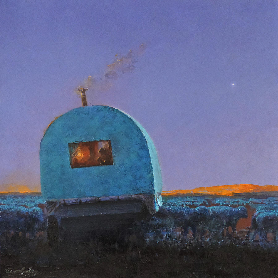 Sheep Wagon Painting - Last Sip of Coffee by Mia DeLode
