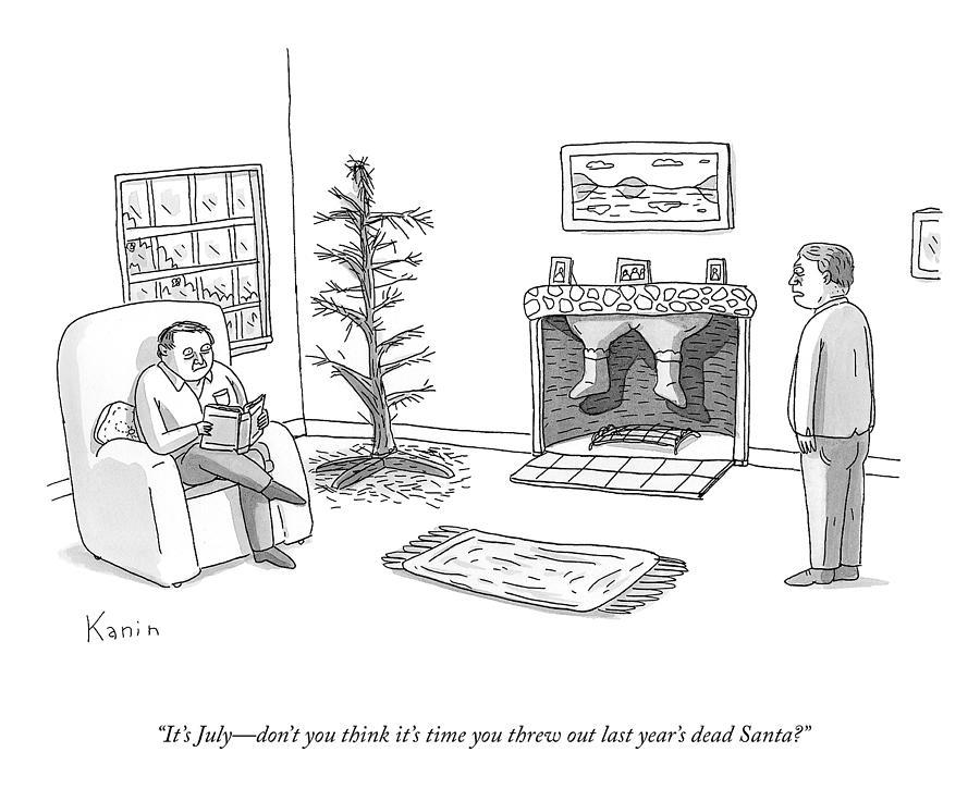 Last Years Dead Santa Drawing by Zachary Kanin