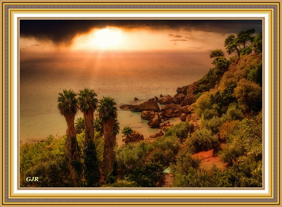 Late Afternoon Sunset At Palmcliffhurst L A S - With Printed Frame Digital Art