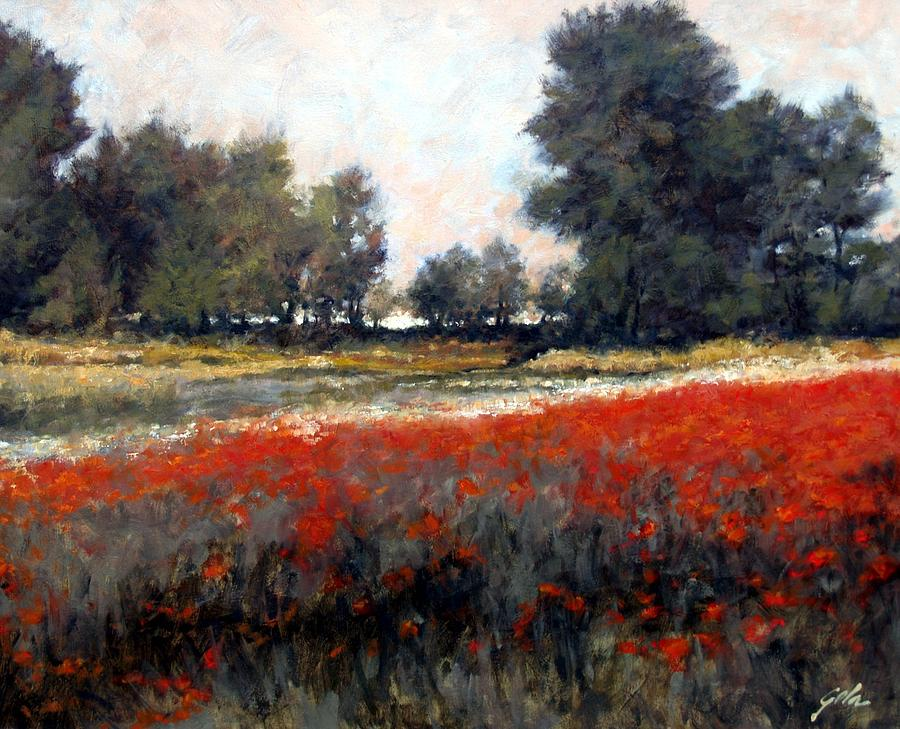Landscape Painting - The Red Field by Jim Gola