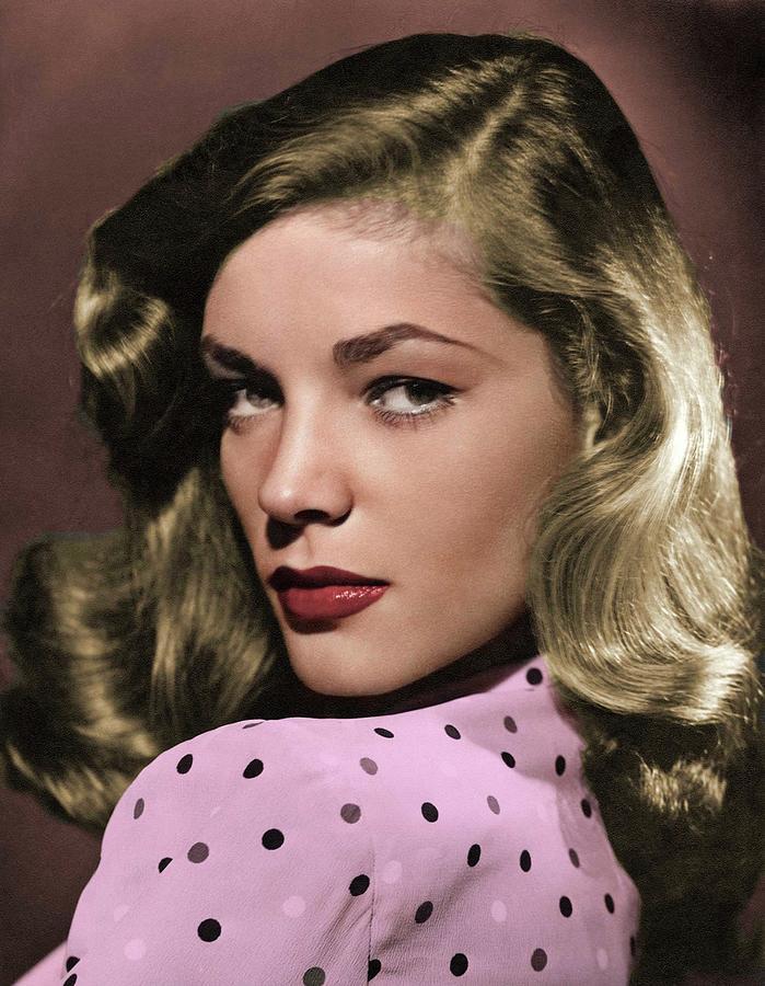 Lauren Photograph - Lauren Bacall colorized by Stars on Art