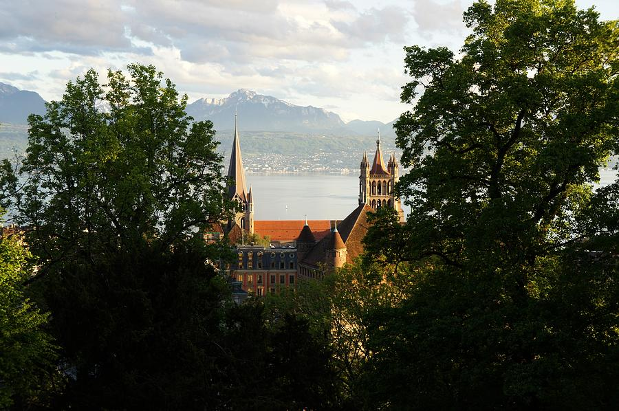 Lausanne Cathedral from Sauvabelin Tower, Lausanne, Switzerland by Santosh Puthran
