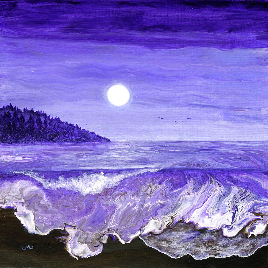 Lavender Moonlight Over The Oregon Coast Painting