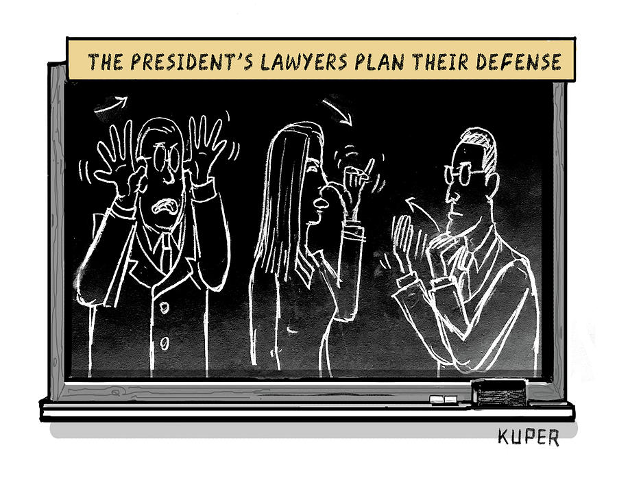 Lawyers Plan Their Defense Drawing by Peter Kuper