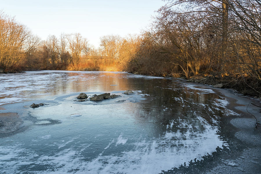 Layered Textures and Light - Frozen Pond Sunrise by Georgia Mizuleva