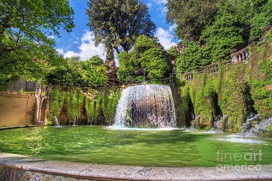 Lazio region landmarks - Villa D Este gardens - Oval Fountain or Fontana del Ovato in Tivoli near Rome - Italy by Luca Lorenzelli