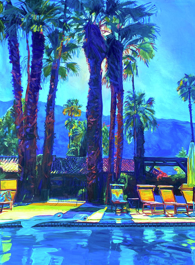 Mountains Painting - Lazy Day by the Pool by Bonnie Lambert