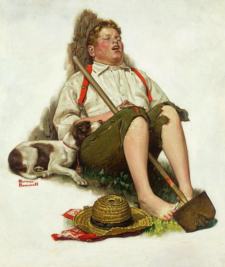 Norman Rockwell Painting - Lazybones, 1919 by Norman Rockwell