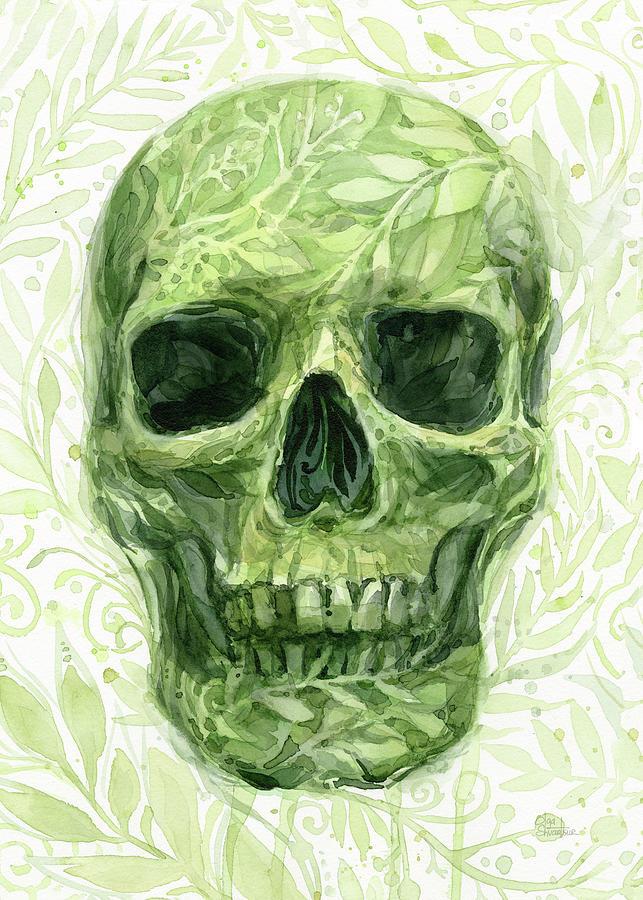 Skull Painting - Leafy Skull  by Olga Shvartsur