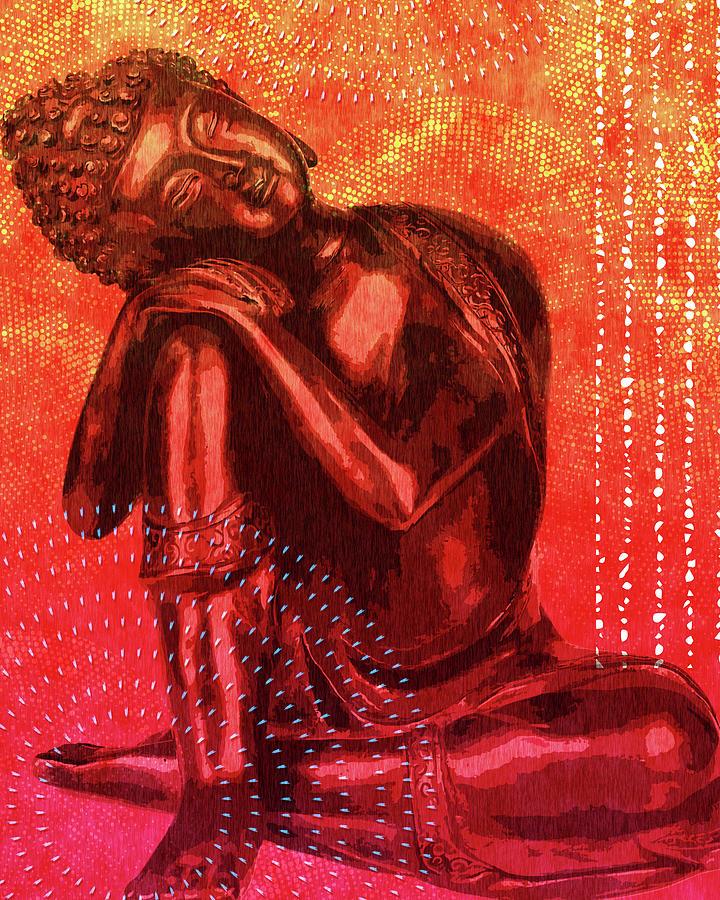 Leaning Buddha 03 Mixed Media