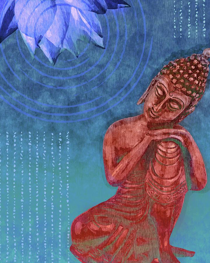 Leaning Buddha - Reclining Buddha 01 - Blue Mixed Media