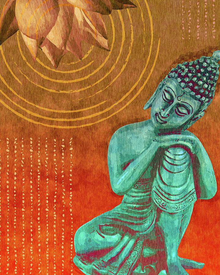 Leaning Buddha - Reclining Buddha 02 - Orange Mixed Media