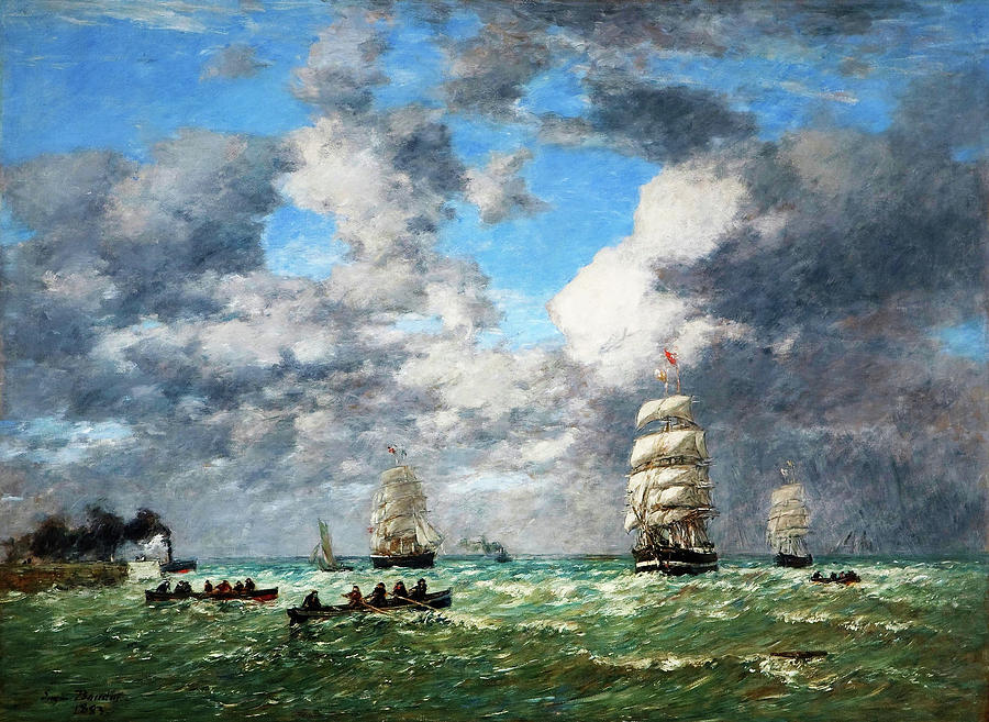 Shipping Painting - Leaving The Port Of Le Havre, Shipping - Digital Remastered Edition by Eugene Louis Boudin