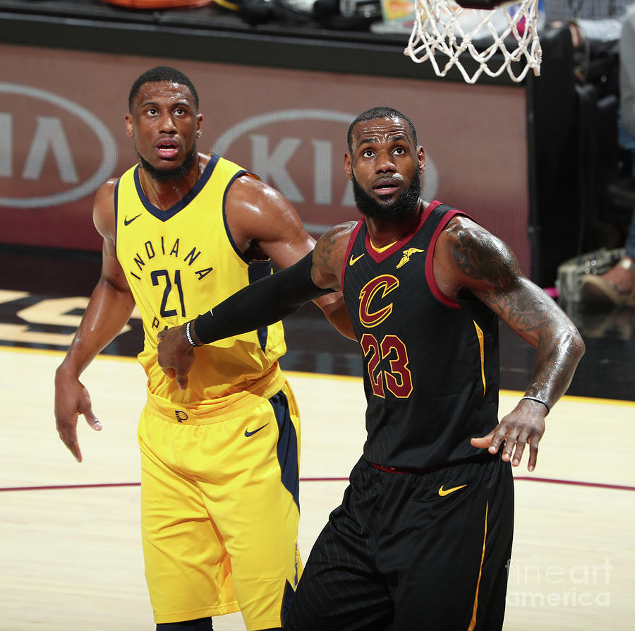 Lebron James and Thaddeus Young Photograph by Nathaniel S. Butler