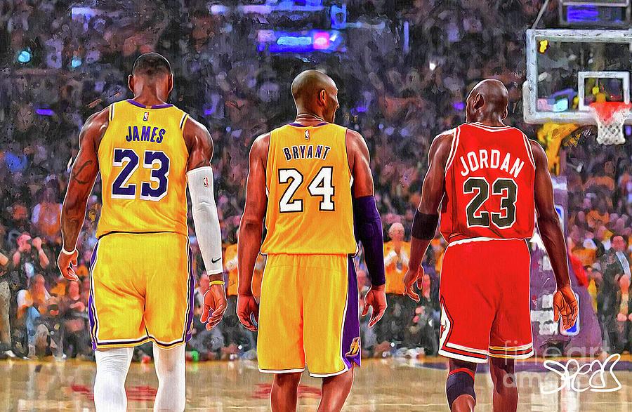 Lebron James Kobe Bryant And Michael Jordan Mixed Media